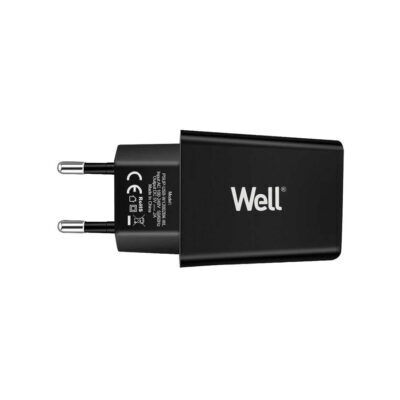Universal USB 5VDC/2A Travel Wall Charger Μαύρο Well PSUP-USB-W12002BK-WL